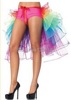 New Women's Lady's Mix Color Rainbow Tail Fluffy Organza Ballet Dance Tutu Skirt Halloween Rave Party Costume Cosplay Skirt -