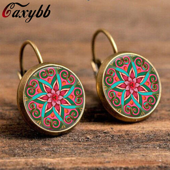 18mm glass cabochon earrings mandala lotus earrings om symbol buddhism,zen a pair henna yoga earring jewelry for women c-e174